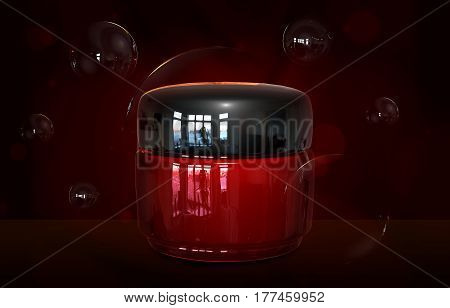 3d illustraton of cream container bottle mock up. Cosmetic cream glass bottle. Realistic beauty cream in a jar