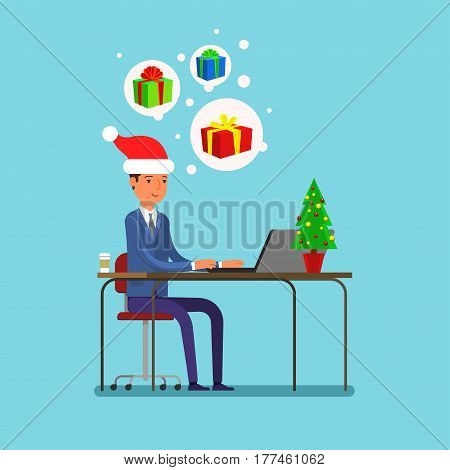 New year business concept. Businessman sitting at a table in a Santa Claus hat and selects gifts. Flat design, vector illustration.