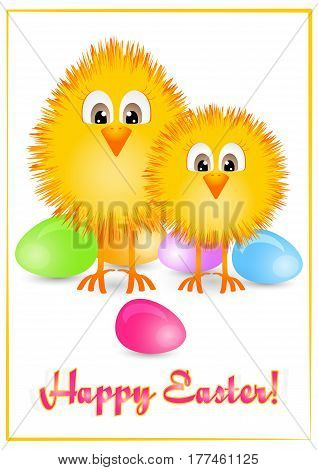 Holiday card for Easter with colorful painted eggs and two little yellow chickens on white background with yellow frame. Vector illustration