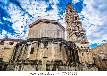 Dramatic sky over ancient roman cathedral in town Split, Saint Domnius bell tower, famous sightseeing place in Croatia, Europe.