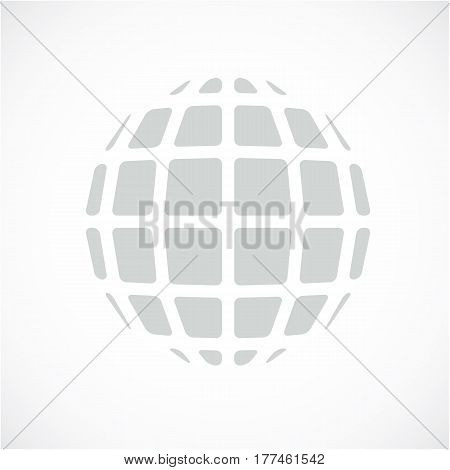 Gray Dimensional Vector Low Poly Object, Trigonometry Shape. Technology 3D Spherical Element Made Wi