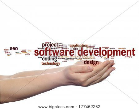 Concept or conceptual software development project coding technology abstract word cloud in hands isolated on background