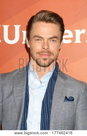 LOS ANGELES - MAR 20:  Derek Hough at the NBCUniversal Summer Press Day at Beverly Hilton Hotel on March 20, 2017 in Beverly Hills, CA