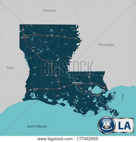 Map Of State Louisiana, Usa