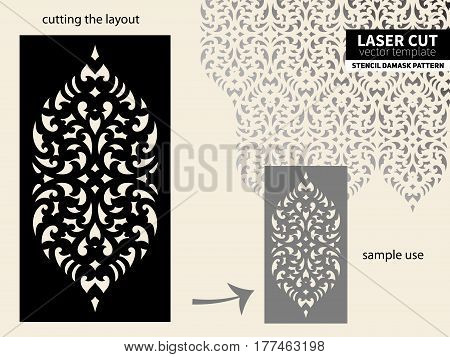 Stencil. Laser cut template. Template pattern for decorative panel. Floral damask ornament background for decorative design, DIY wallpaper.