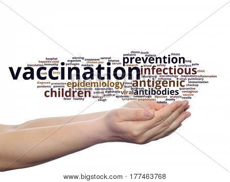 Concept or conceptual children vaccination or viral prevention abstract word cloud in hand isolated on background