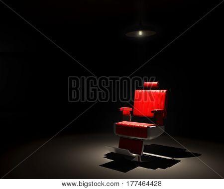 Barber chair focus lighting in the darkroom - 3D render