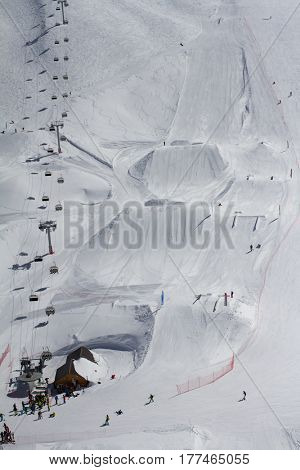 Extreme park in mountain ski resort.