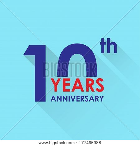 10 years anniversary icon. Invitation and congratulation design template. Flat vector illustration of 10th anniversary emblem.