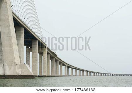 View of Vasco da Gama bridge in Lisbon Portugal