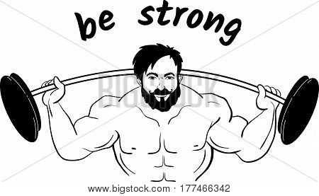 Cartooned bodybuilder lifting weights with a barbell
