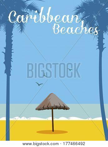 Sunshade made of palm tree (parasol) in playa del caribe