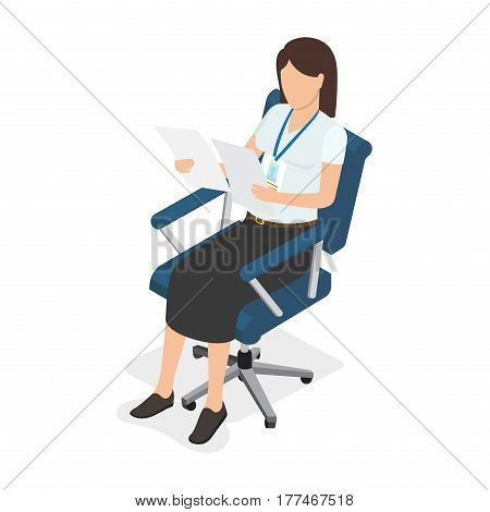Dark-haired woman sitting in blue chair, holding and looking on two paper on white background. Female with badge dressed in white T-shirt and black midi skirt vector illustration in cartoon style.