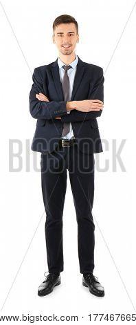 Handsome man in elegant suit on white background