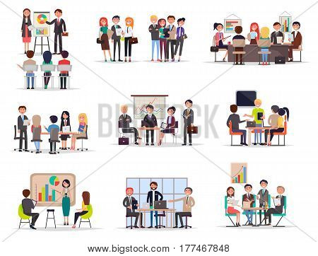 Set of business meeting in cartoon style on white background. Icons of working people on operating meetings, presentations with chart and diagram. Vector illustration for infographic, website or app