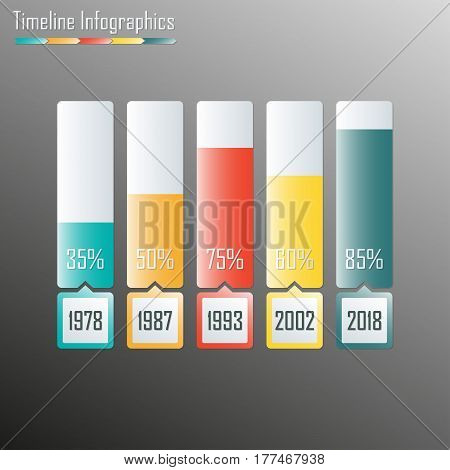 Timeline Infographics template. Horizontal design elements. Colorful vector illustration.