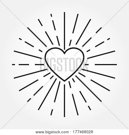 Heart icon. Outline heart silhouette with sunburst frame. Valentine heart background. Love design element.