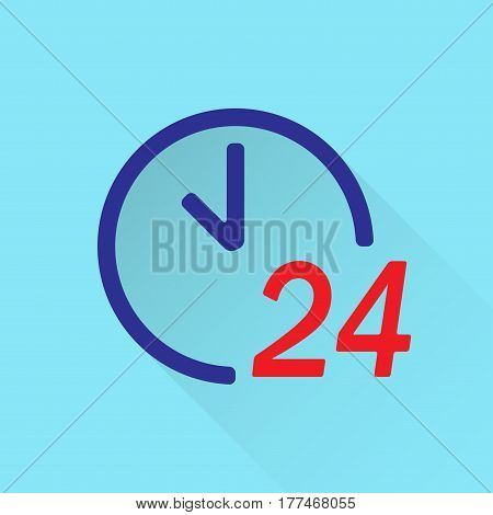 24 hour clock icon. 24 hours a day or round the clock symbol in flat style. Vector illustration.