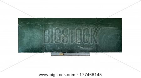 Old blackboard in wooden frame with eraser and chalk.