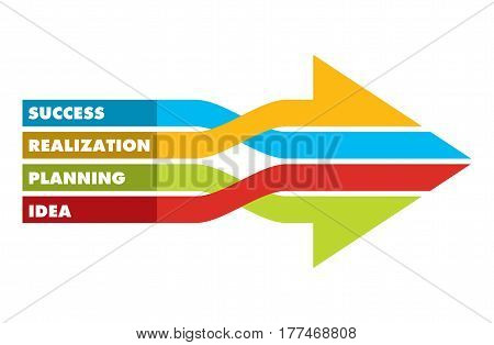 Keys for succes abstract business illustration. Arrows with copy place area.