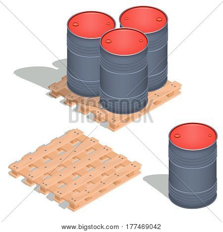 Vector 3D isometric illustration, icons of barrels of oil on a wooden pallet isolated on white