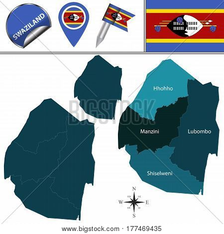 Map Of Swaziland With Named Regions