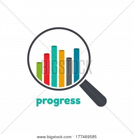 Template logo for progress .Vector illustration of graph and magnifier