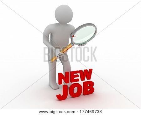 3d people - man person with magnifying glass searching for job.. rendered illustration