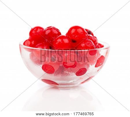 frozen berries red currant in glasswares, on a white background