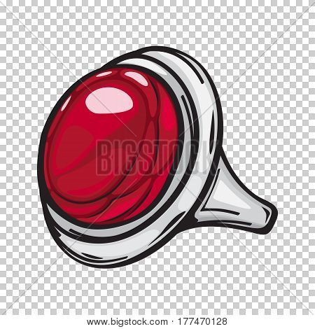Silver ring with big red stone flat design web banner on transparent background. Vector illustration of fashion jewelry on hand. Vogue perfect icon in cartoon style for infographics, websites, app