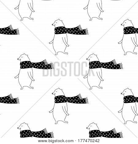 Cartoon bear pattern with sweet bear in scarf. Cute vector doodle black and white bear pattern. Seamless monochrome bear pattern for fabric, wallpapers, wrapping paper, cards and web backgrounds.