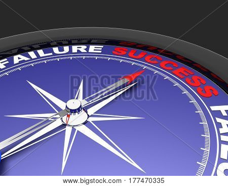 Abstract compass with needle pointing the word success. Success concept .rendered illustration