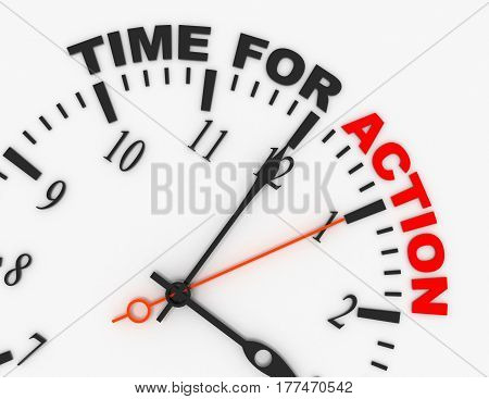 3d abstract clock with word time for action. time concept.rendered illustration