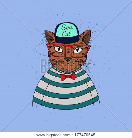 Cute summer illustration. Vector elegant childish illustration with cat-sailor in cute cartoon style.