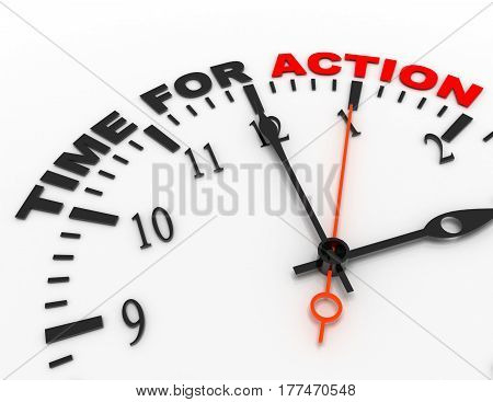 3d abstract clock with word time for action. time concept .rendered illustration