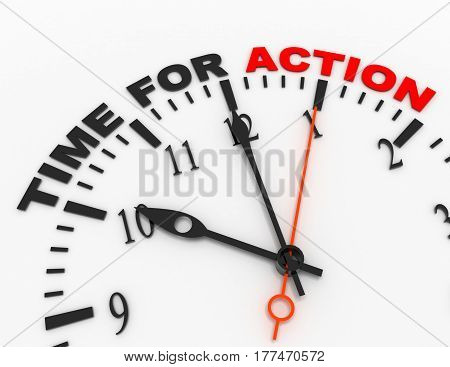 3d abstract clock with word time for action. time concept. rendered illustration
