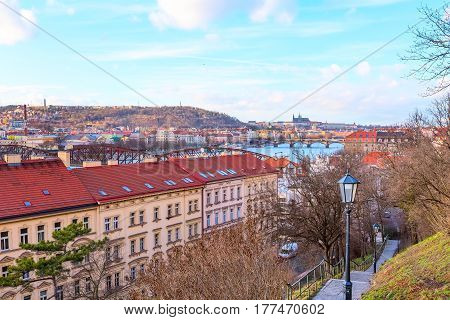 Prague downtown aerial panorama with river, bridges and famous landmarks, Czech Republic