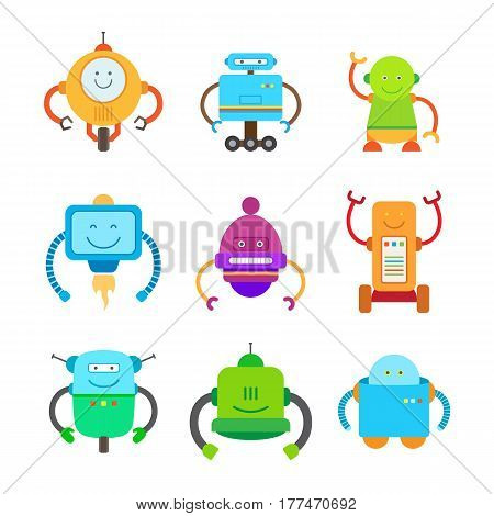 Funny robots set of friendly colorful androids of different shapes, abilities and faces isolated on white background. Cartoon smiling devices vector illustration. Cute retro droids big collection.