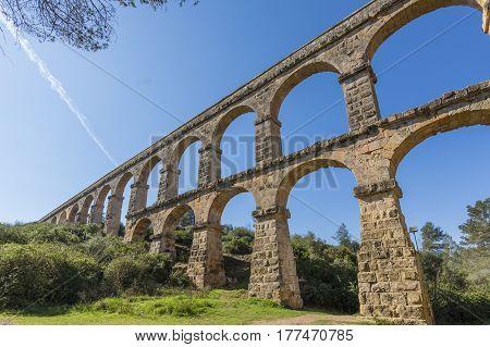 Roman Aqueduct Pont del Diable in Tarragona, Spain.