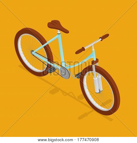 Bike Retro Isometric View Bicycle Sport Transport for City and Mountain Road. Vector illustration