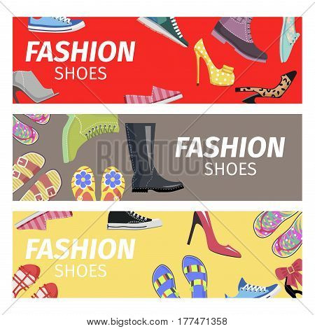 Fashion shoes bright advertising poster of red, grey and yellow color. Trendy shoes shop promotion signboard vector illustration. Footgear for hot summer, warm spring, rainy autumn and cold winter.
