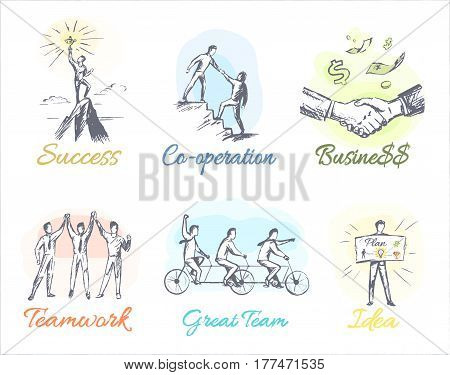 Great success, reliable co-operation, profitable business, friendly teamwork, great team and fruitful idea on white background. Vector illustrations of concepts constituents of businessman life.