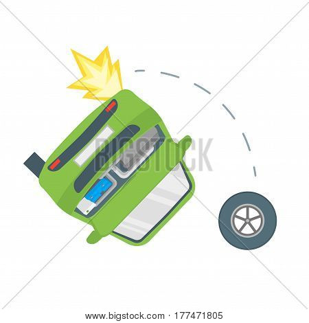 Cartoon Car Crash Road Accident Overturn Transport Flat Design Style. Vector illustration