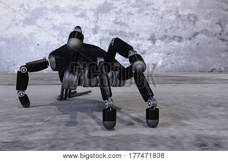 A robot hand imitating a spider (3d rendering)