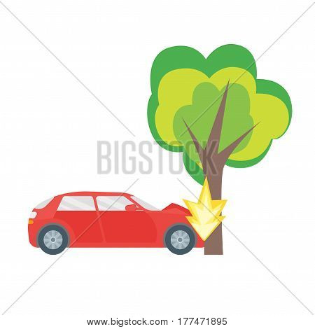 Cartoon Car Crash Road Accident Auto Collision with Tree Flat Design Style. Vector illustration