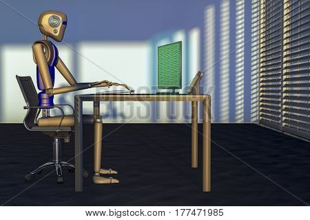 We are the robots, a robot in a big office (3d rendering)