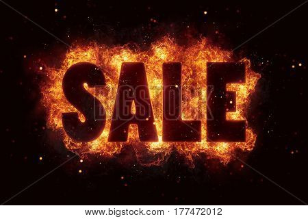 Sale price deal text on fire flames explosion burning explode