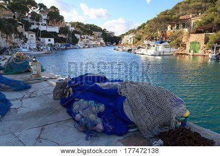 Fishing Village Cala Figuera Port And Mediterranean Sea, Majorca, Spain