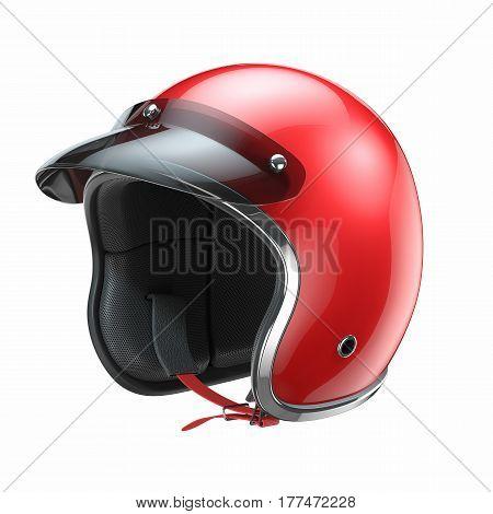 Red Classic Motorbike Helmet