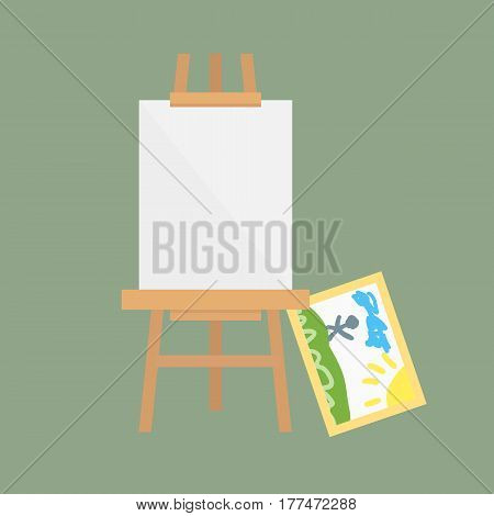 Easel art board vector isolated for some artist with paint palette paper canvas artboard and themed kids creativity creation symbol vector illustration. Whiteboard equipment presentation frame.